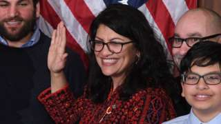 US House Representative Rashida Tlaib participates in a ceremonial swearing-in