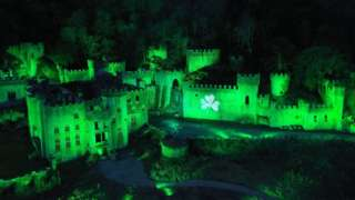 Aerial views of Gwrych Castle in Abergele, North Wales