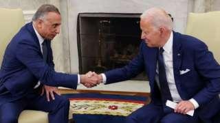 Irak Başbakanı Kazımi (solda) ve ABD Başkanı Biden, Beyaz Saray'da bir görüşme gerçekleştirdi