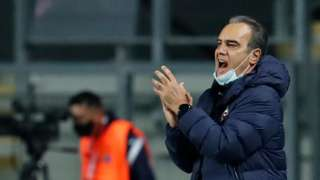 Chile's coach Martin Lasarte gestures during the friendly football match against Bolivia at the El Teniente stadium in Rancagua, Chile, on March 26, 2021.