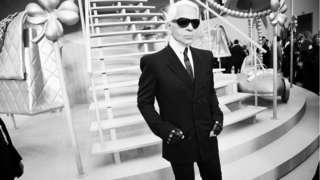 Paris. February 2008. Karl LAGERFELD greets the press after the show.
