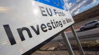 EU funding sign near Ebbw Vales, Blaenau Gwent