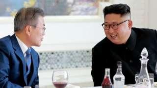 Moon Jae-in and Kim Jong-un