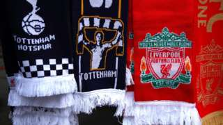 Tottenham and Liverpool scarves