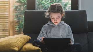 Girl on a tablet