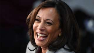 Fice picture of Democratic US presidential hopeful Kamala Harris, who has now announced she is withdrawing from the 2020 presidential race