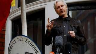 Julian Assange at the Ecuadorean embassy - 19 May