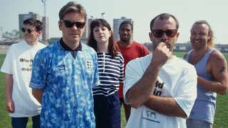 New Order, Keith Allen and John Barnes at the video shoot for World in Motion