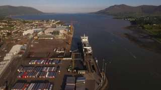 Aerial shot of Warrenpoint Harbour