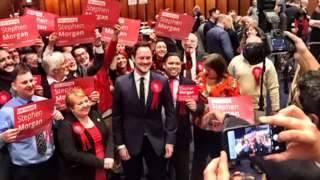 Stephen Morgan and supporters