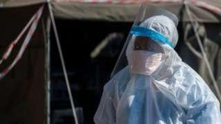 Health worker wearing PPE