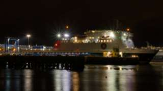 Ben-my-Chree in Douglas Harbour at night