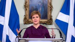 Nicola Sturgeon during an independence statement at Bute House in December