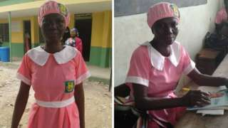 50 year old Ajayi Folashade wey just start secondary school