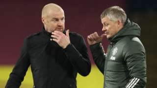 Burnley boss Sean Dyche and Manchester United manager Ole Gunnar Solsjkaer