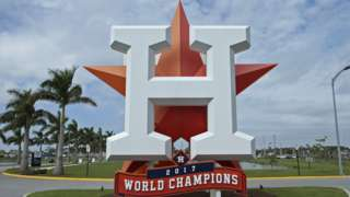 The Houston Astros logo above a banner reading '2017 World Champions'