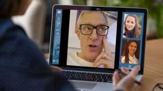 Jeremy Vine on a virtual pub quiz with two contributors (photoshopped)