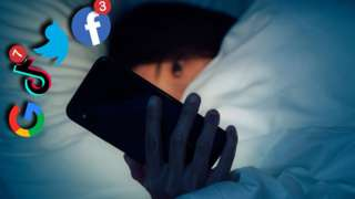Woman staring at phone in bed with logos of Facebook, TikTok, Twitter and Google popping out of the screen