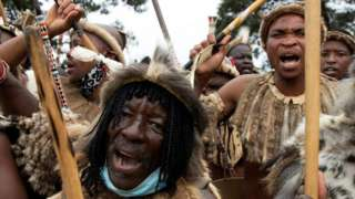 Zulu Warriors at the funeral service of King Goodwill Zwelithini KaBhekuzulu on March 18, 2021 in Nongoma, South Africa.