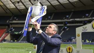 St Johnstone manager Callum Davidson with the Scottish Cup