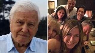 Sir David Attenborough and Jennifer Aniston on Instagram
