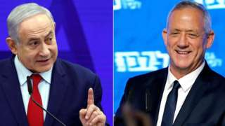 Benjamin Netanyahu (L) and Benny Gantz (R)