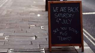 Sign about pub reopening
