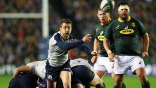 Greig Laidlaw of Scotland passes