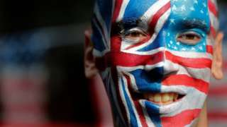 Man with US/UK face paint