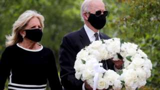 Democratic US presidential candidate and former vice-president Joe Biden and his wife Jill visit the War Memorial Plaza during Memorial Day, amid the outbreak of the coronavirus disease (Covid-19), 25 May 2020