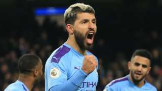 Sergio Aguero celebrates scoring for Manchester City against Sheffield United