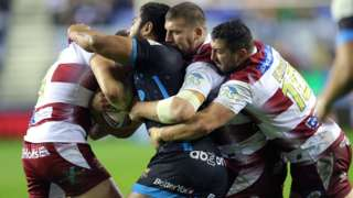Only one first-half try was scored by Huddersfield against Wigan in a tight defence-dominated first half at the DW Stadium