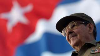 """Cuba""""s President Raul Castro attends the May Day parade at Havana""""s Revolution Square May 1, 2008."""