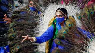 Dancers perform during a dress rehearsal for the Republic Day parade in New Delhi, India, on 23 January 2021