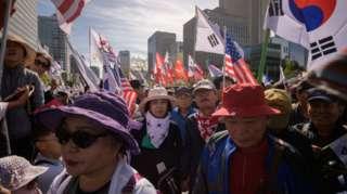 Biểu tình ở Seoul ngày 9/10/2019 phản đối việc Tổng thống Moon Jae-in chọn Cho Kuk làm bộ trưởng tư pháp