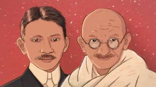 An illustration of Mahatma Gandhi as a young man and an older man