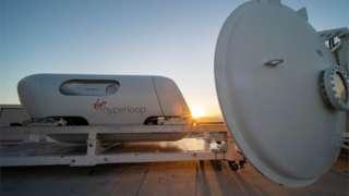 A Virgin Hyperloop pod is seen at their DevLoop test site in Las Vegas, Nevada, in this November 8, 2020