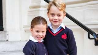 Princess Charlotte and Prince George outside Kensington Palace on 5 September 2019