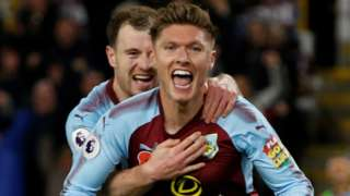Burnley celebrate taking the lead against Newcastle