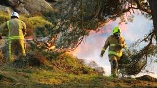 Firefighters on Ilkley Moor