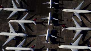 Commercial airplanes parked at an airport in Birmingham, Alabama due to the coronavirus pandemic