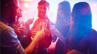 Group of friends in a nightclub