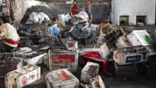An informal battery recycling workshop in Bihar state of India