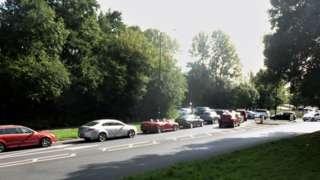 Queuing traffic around the centre