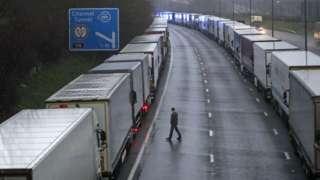 Lorries queuing near Folkestone