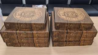 The pizza boxes