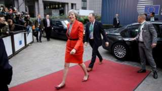 Theresa May arriving for the second day of the EU summit