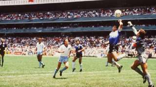 "England goalkeeper Peter Shilton and Diego Maradona's ""hand of God"" moment in the 1986 Mexico World Cup"