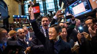 Alibaba stock goes live during the company's initial price offering at the New York Stock Exchange on September 19, 2014.