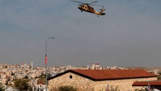 A helicopter carrying US Secretary of State Mike Pompeo hovers over the Psagot winery in the Israeli-occupied West Bank (11 November 2020)